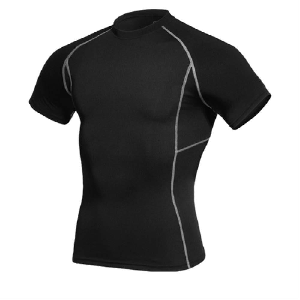 noir S NUASH Séchage Rapide Hommes Compression Tennis Maillot Tight Fitness Gilet EntraîneHommest Courant T-Shirt Court Hommes VêteHommests de Sport