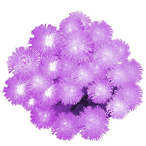 Solar Outdoor String Lights, Satu Brown 21ft 30LED Chuzzle Ball Fairy Romantic Purple Waterproof Christmas Lights Decorative Lighting For Home, Garden, Patio, Yard, Parties