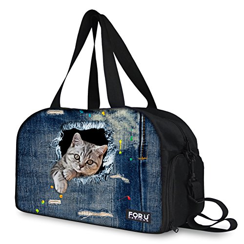 Youngerbaby Cute Denim Cat Print Bag Lightweight Travel Outdoor Overnight Handbag by Youngerbaby