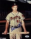 Braves Eddie Mathews Signed Authentic 8X10 Photo W/ Bat In Hand PSA/DNA