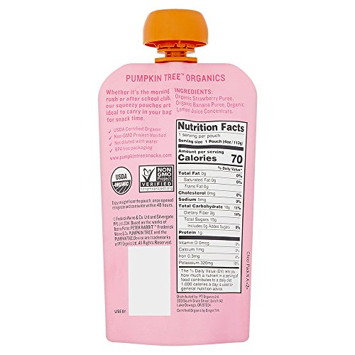 Peter Rabbit Organics Strawberry & Banana Puree, 4 Ounce Squeeze Pouch (Pack of 10) by Peter Rabbit (Image #1)