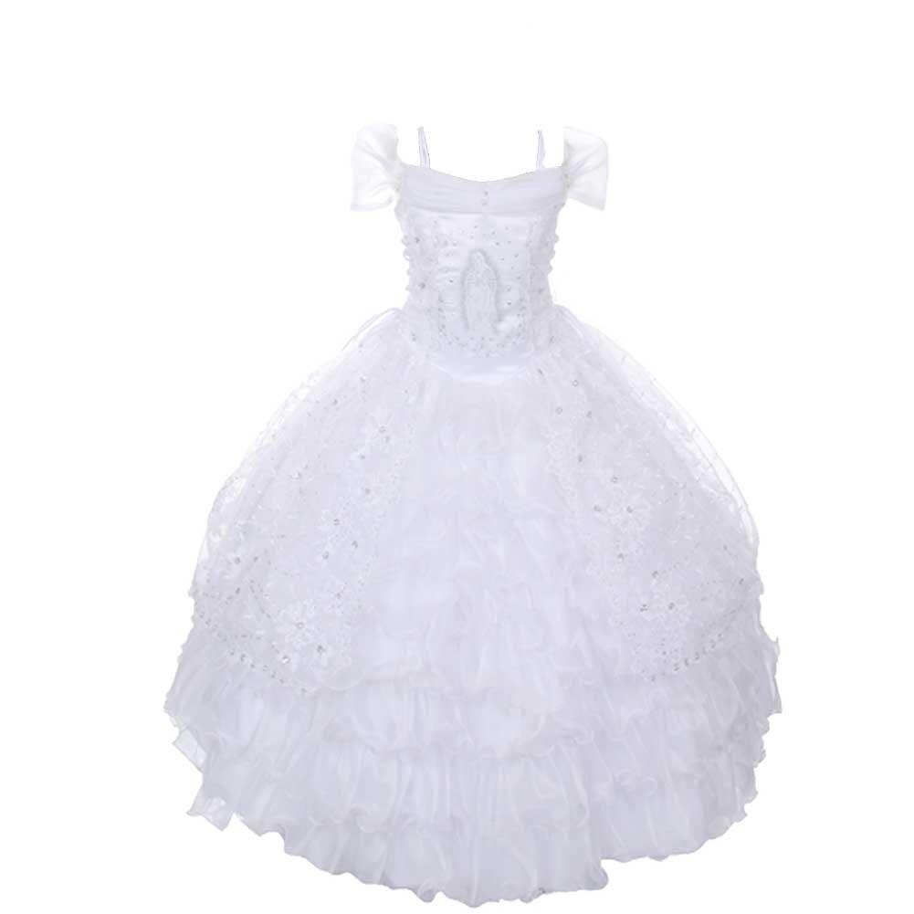 Rain Kids Girls 10 White Off Shoulder Ruffle Organza Communion Dress
