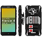 Alcatel [Pop 4+][Fierce 4][Allura 5056] Phone Cover, NES Video Game Controller- Black Blitz Hybrid Armor Phone Case with [Kickstand and Holster] Review