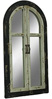 a2083529d5 Zeckos Vintage Finish Wood Arched Window Frame Wall Mirror with Doors