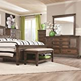 Coaster Franco Collection 200975 36'' Chest with 5 Drawers Black Metal Handles Solid Hardwood and New Zealand Pine Construction in Burnished Oak