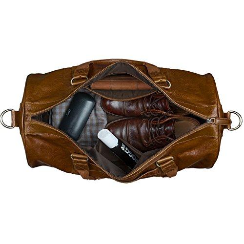 tracolla di Sacchetti Vintage cuio marron Borsa viaggio classica spalla da Sport in a Retro pelle wI15Xq