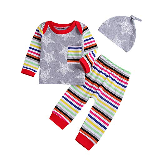 Baby Pajamas,Rainbow Baby Clothes 2 Piece Striped Shirt Pants for Boys Girls with Hat Outfit (Rainbow, 18-24Months)