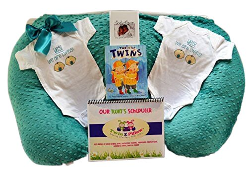 Twin Silver Gift Set - 1 Twin Z Pillow + 1 Teal Cover + 2 One pieces + Twin Book + Twin Scheduler + Twin Baby Card