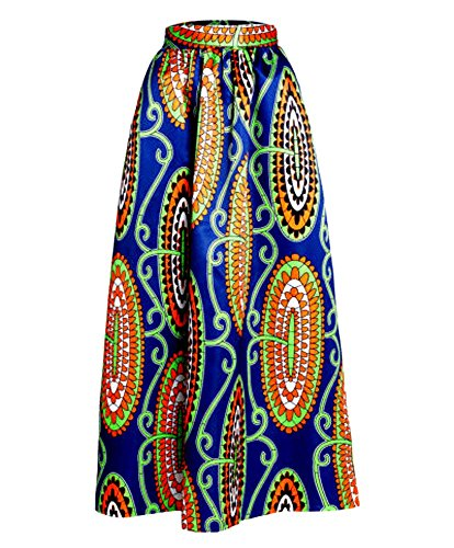 Red Dot Boutique 8824 - Plus Size Ethnic African Print Long Maxi Skirt (2X, Blue Orange)