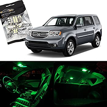 Partsam Honda Pilot 2009-2015 Green Interior LED Package Kit with Tag Lights, Pack of 17