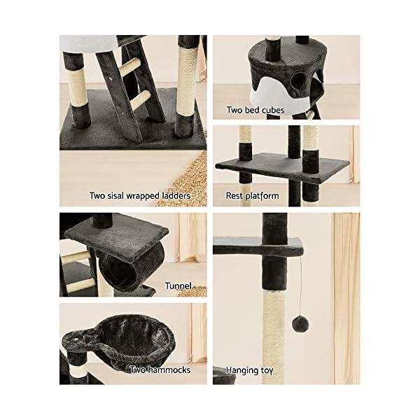Cat Scratching Tree Post Sisal Pole Condo House Furniture Multi level Grey 260cm 6