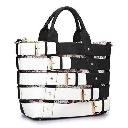 MKY Extra Large Tote Bag Designer Shoulder Handbag Buckle Details w/Removable Shoulder Strap Brown by MKY
