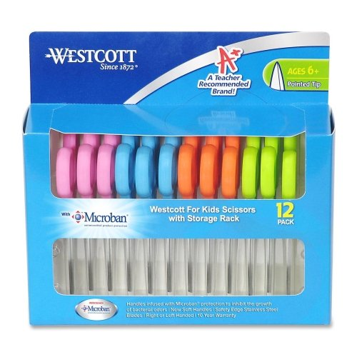 Wholesale CASE of 5 - Acme Westcott 5'' Pointed Microban Scissors -Scissors,w/ Microban,Pointed Tip,12/PK,Assorted Handles