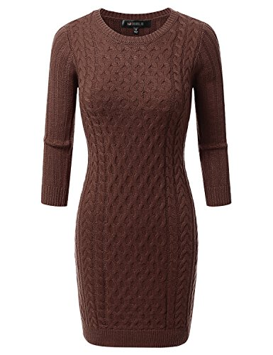 Doublju Slim Fit Cable Knit Longline Women Long Sleeve Sweater Dresses | Crew Neck Sweater Dress
