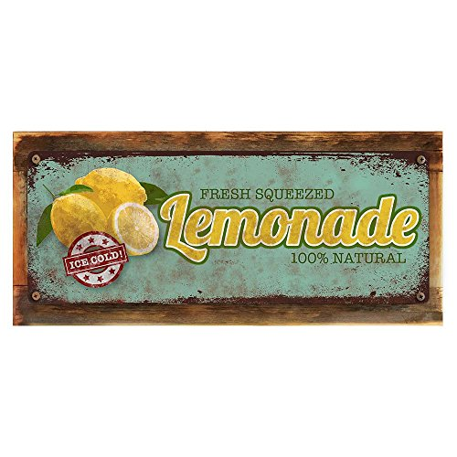 "Homebody Accents  Framed Fresh Squeezed Lemonade 6""x16"" Metal Sign, Vintage, Rustic, Summer, Hand-Crafted from Reclaimed Materials"