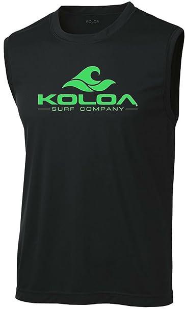 0674756fe468d Koloa Surf Wave Logo Moisture Wicking Sleeveless T-Shirt-Black Green-XS