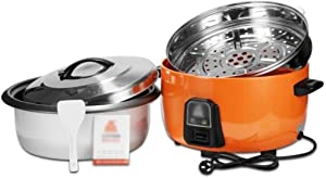 Commercial Large-capacity Electric Cooker, One-button Control Auto Heat Preservation Non-stick Pan 6L-45L, Hotel Canteen Restaurant Super-large Rice Cooker (Color : Orange, Size : 6L)