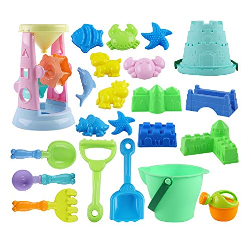 ToyerBee Sand Toys- 23pcs Beach Toys Set with Bucket, Shovels, Rakes, Watering Can, Mold- Toys for Boys, Girls,Toddles, Kids