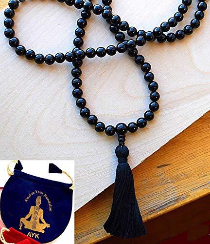 Powerful Black Tourmaline mala beads necklace | 8mm 108+1 handmade Tibetan prayer beads - deflecting radiation energy, repels negative energy, changes into positive energy, EMF Protection - US seller