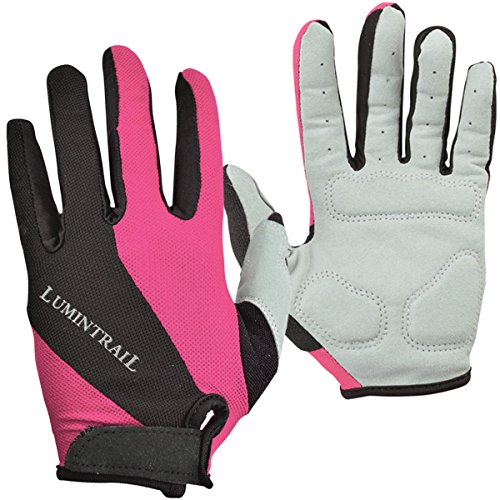 Lumintrail Shock-Absorbing Riding Full Finger Cycling Bike Gloves Breathable Sport for Men and Women (Pink, Medium) ()