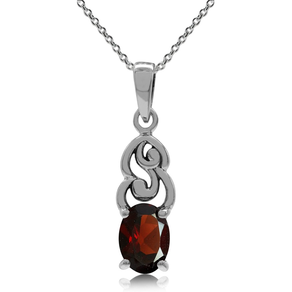 Natural Garnet 925 Sterling Silver Victorian Style Pendant w/ 18 Inch Chain Necklace