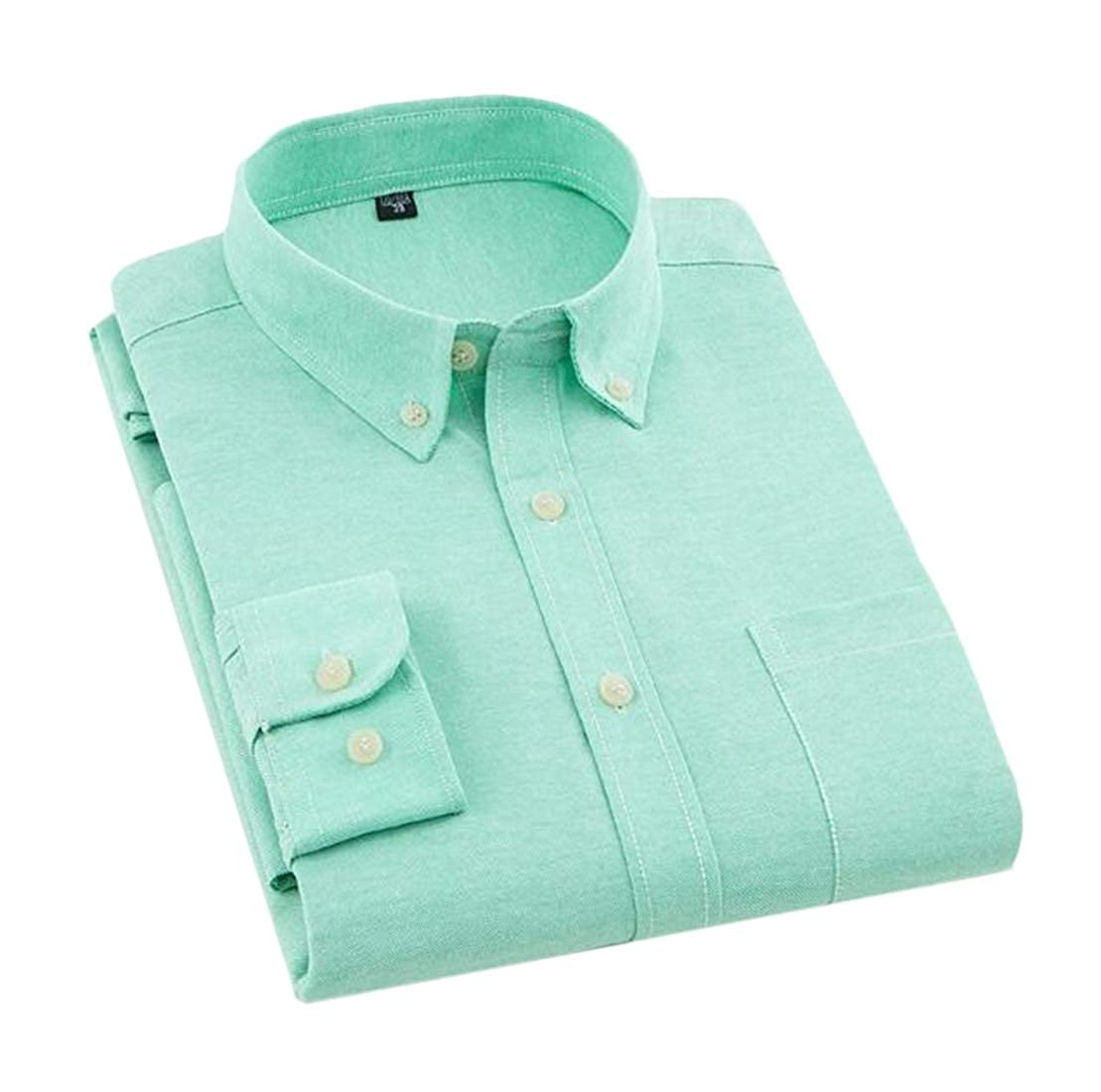 BYWX Men Oxford Long Sleeve Pure Color Business No Iron Casual Shirts