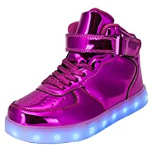 TULUO Kid & Men & Woman USB Charging LED 7 Colors Light High Top Sneakers Light shoes