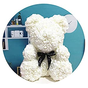 HuaHua-Store 40Cm with Heart Big Red Teddy Bear Rose Flower Artificial Decoration for Women Valentines Gift 47