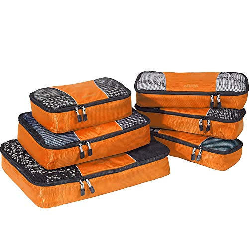 eBags Classic Packing Cubes for Travel - 6pc Value Set - (Tangerine)