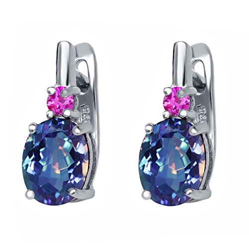 (Gem Stone King 4.76 Ct Millennium Blue Mystic Quartz Pink Sapphire 925 Sterling Silver Earrings)