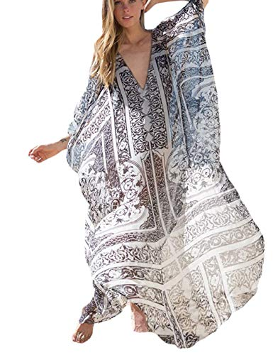 - Boho Beach Wears Women Long Maxi Cover Ups Ethnic Print Kaftan Bikini Dress Oversized Robe Chiffon (258)