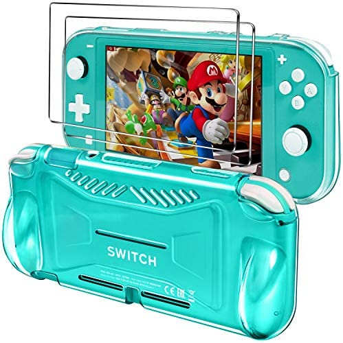 iVoler Protective TPU Case for Nintendo Switch Lite 2019 with 2 Pack Tempered Glass Screen Protector, Grip Cover with Shock-Absorption and Anti-Scratch Design, HD Clear