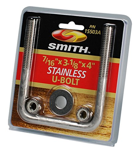 CE Smith Trailer Stainless Steel Square U-Bolt with Washers & Nuts, 7/16