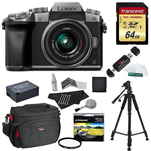5198ZkvGP6L - Panasonic DMC-G7KS Digital Single Lens Mirrorless Camera 14-42 mm Lens Kit, 4K + Starter Bundle + Transcend 64 GB High Speed 10 UHS3 + Tripod + Polaroid 46mm UV Filter + Battery + Bag