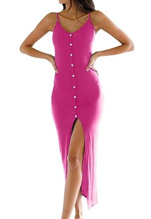 ba2d606056d Eliacher Women s Button Down Adjustable Spaghetti Straps Summer Dress  Sleeveless Bodycon Party Maxi Dress