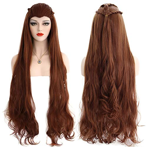BERON 40'' Long Wavy Wig Cosplay Costume Party Halloween Wig with Braid Wig Cap Included Updated Adjustable Cap Size (Brown)