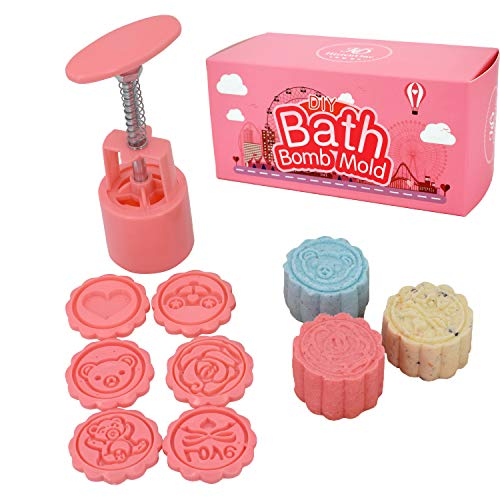 Bath Bomb Mold Making Kit- DIY Bath Fizzies Supplies with 6 Stamps - Make a Bomb in 5 Seconds