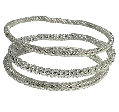 (Dragonfly Spirit Designs Mesh Chain Stretch Multilayer Bangles 925 Sterling Silver Plated for Women Girls Men (SET-3N-SILVER))