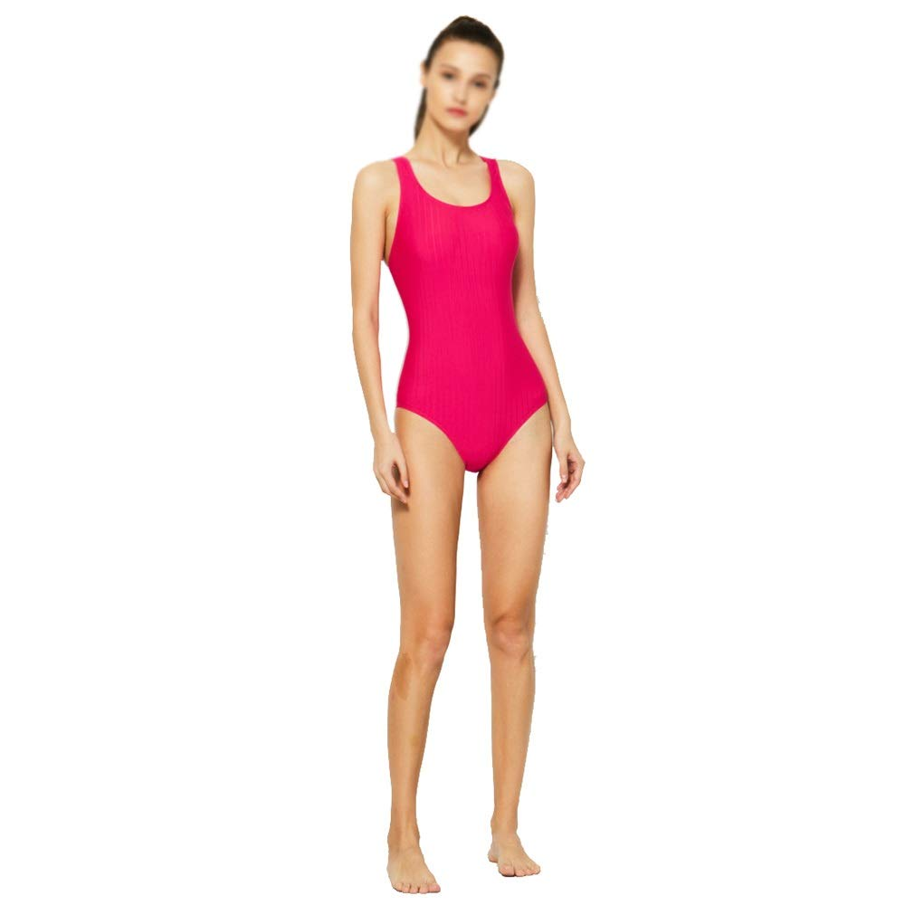 Pink OnePiece Swimsuit Female Slim Conservative Small Chest Gathered Swimsuit Training Sports Swimwear (color   Black, Size   XXL)
