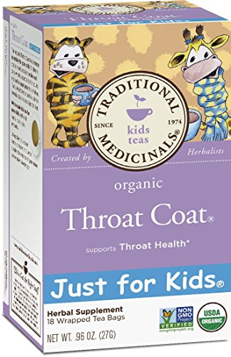 Traditional Medicinals Organic Throat Coat Just for Kid's Tea, 16 Tea Bags (Pack of 6)