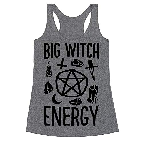LookHUMAN Big Witch Energy XL Heathered Gray Women's Racerback -