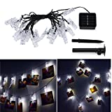 String Lights with 20 Photo Clips Holder,Indoor Fairy Solar Lights for Hanging Photos Artwork Pictures Cards and Memos, Perfect Gift for Dorms Bedroom Decoration,Wedding Party Home by elecfan - White