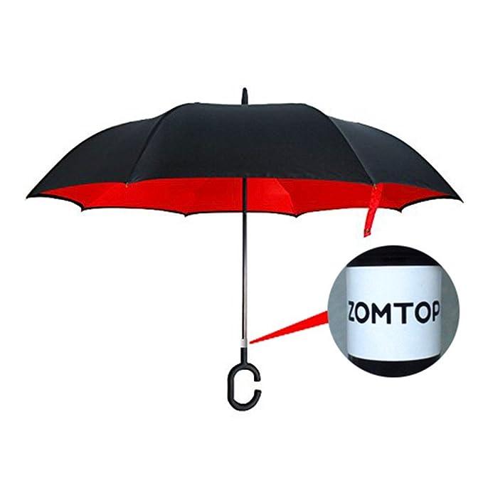 Zomtop innovador invertido paraguas de doble capa revés paraguas de la lluvia de agua recogidas Bumbershoot Ambiental (Negro + rojo)