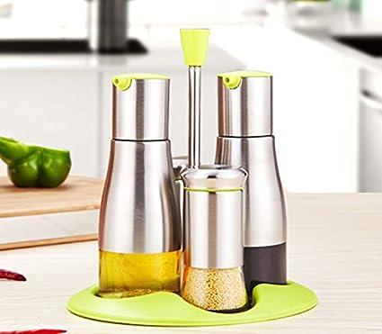 FJXLZ® Suministros de cocina Vidrio de aceite a prueba de fugas Puede 304 botellas de