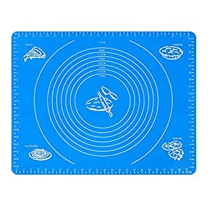 Rubility Extra Large Silicone Baking Mat for Pastry Rolling with Measurement Cooking Tool Blue