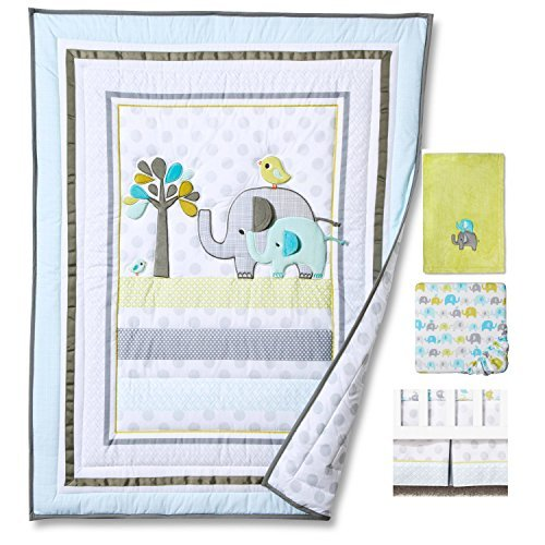 Blue Elephant 4pcs set Baby Bedding Set Nursery Crib Bedding With Comforter Blanket [並行輸入品]   B07HLG7FSP