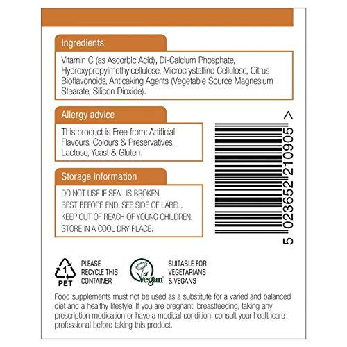 Natures Aid Vitamin C 1000mg Time Release with Citrus Bioflavonoids 180 Tabs 6PK