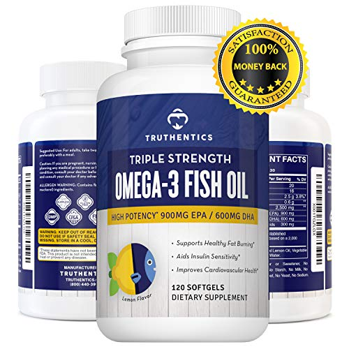 - Omega 3 Premium Fish Oil 2500mg Triple Strength Non-GMO | High Strength Concentrated Omega-3 Fatty Acids EPA 900mg DHA 600mg | Brain Joint Heart Skin Hair Health | Burpless Lemon Flavor 120 Softgels