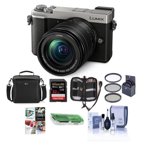 Panasonic Lumix DC-GX9 20.3MP Mirrorless Camera with 12-60mm F3.5-5.6 Lens, Silver – Bundle with Camera Bag, 32GB SDHC U3 Card, Cleaning Kit, Memory Wallet, Card Reader, 58mm Filter Kit, Software Pack