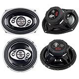 2) New Boss P694C 6x9 800W + 2) Boss P654C 6.5 400W 4-Way Car Coaxial Speakers